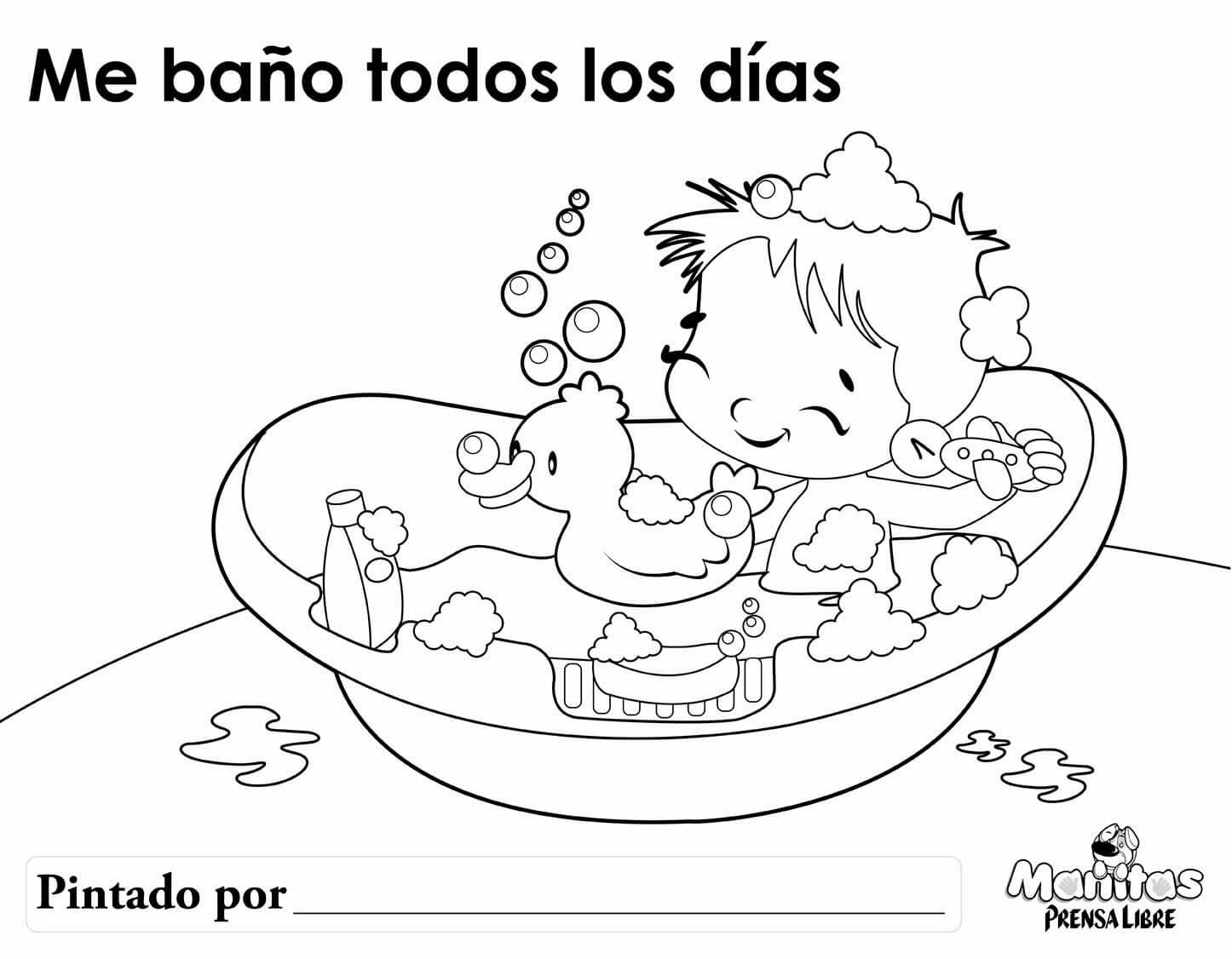 Ficha para colorear sobre el aseo infantil cyberdocentes for Objetos para banarse