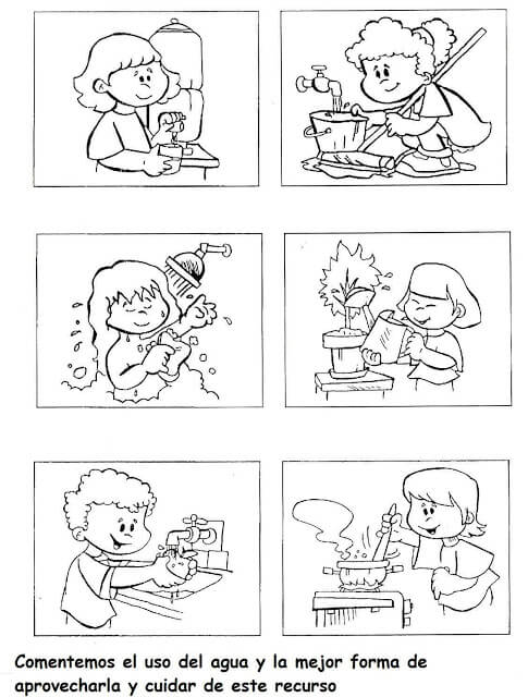 distintos usos del Agua Colouring Pages