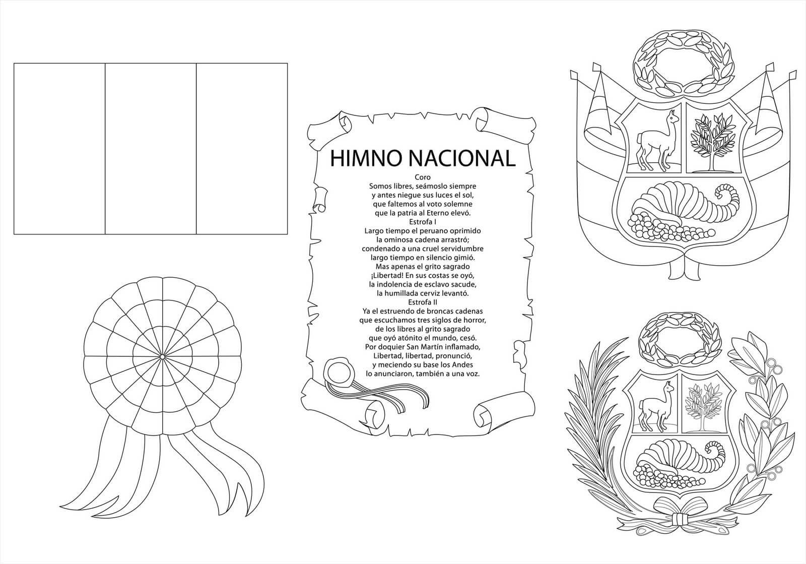Símbolos Patrios del Perú para Colorear