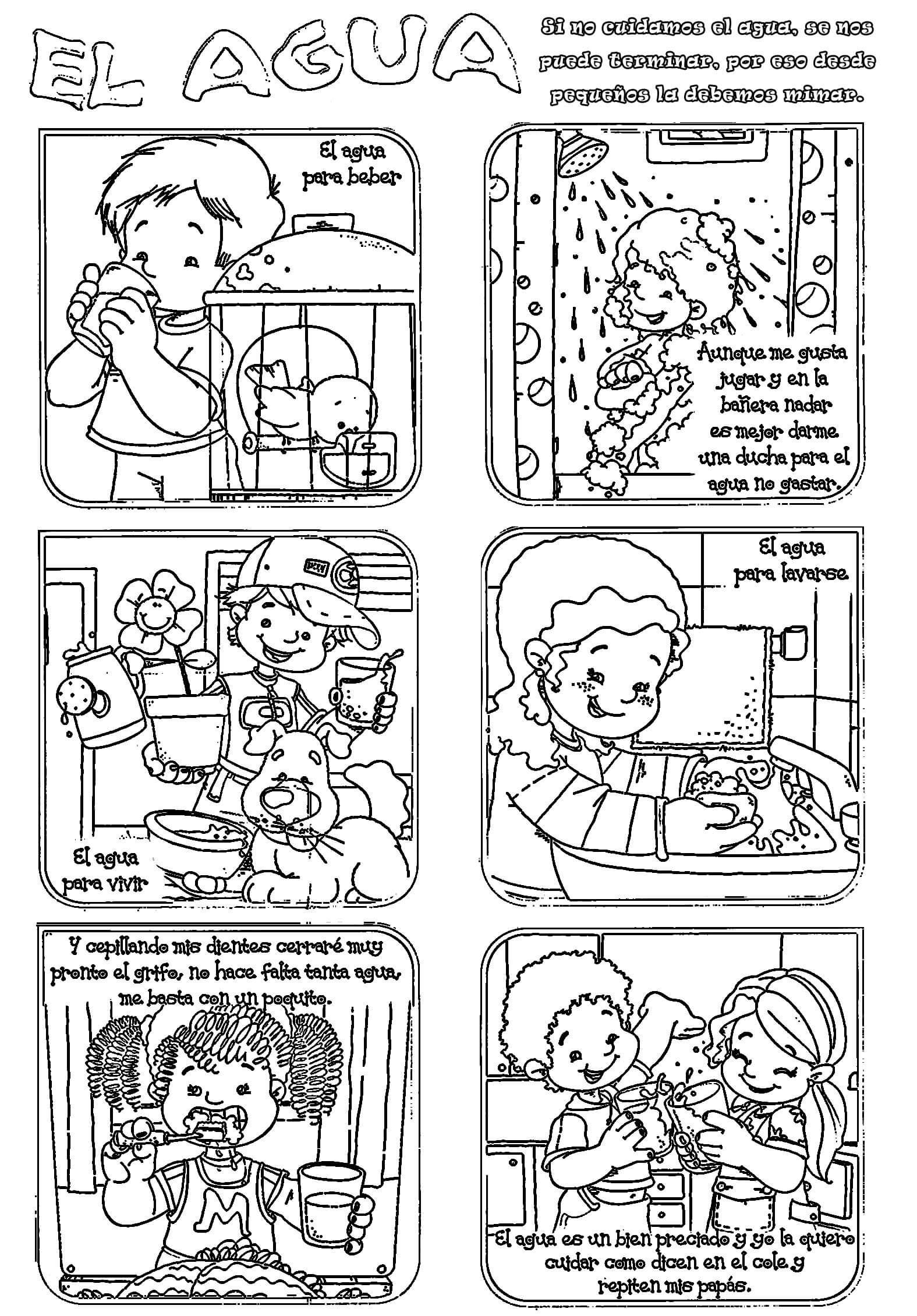 Ficha para colorear sobre el uso del agua